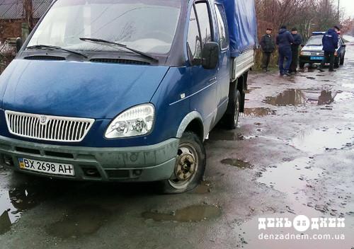 У Шепетівці газівники «відрізали» трубу, а люди порізали шини їхньої автівки