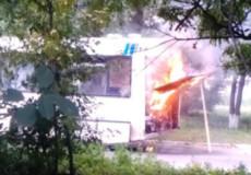 У Шепетівці загорівся рейсовий автобус