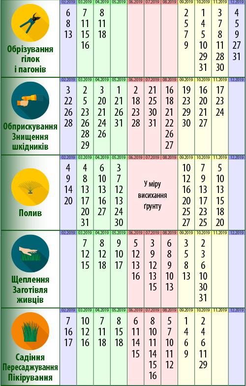 Посівний календар: обрізування гілок і пагонів, обприскування, знищення шкідників, полив, щеплення, заготівля живців, садіння, пересаджування, пікірування