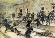 Офіцер Третьої Залізної дивізії УНР зобразив бій на станції Крути