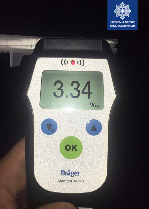 У Хмельницькому патрульні зафіксували черговий алкогольний антирекорд у 50-річного водія