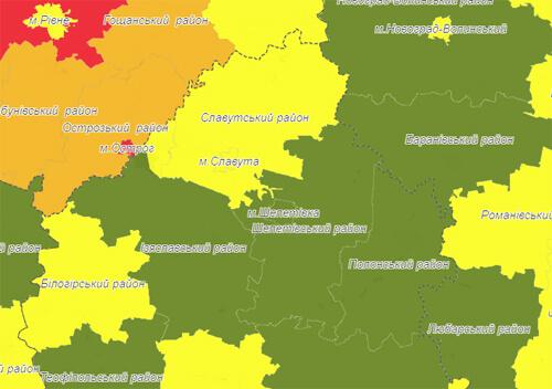 Славута та Нетішин потрапили до «жовтої» карантинної зони