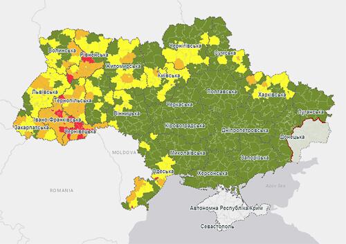 Вісім районів Хмельниччини опиняться у «жовтій» зоні, один — в «помаранчевій»