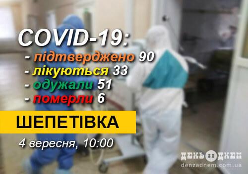 У Шепетівці зареєстровано 90 лабораторно підтверджених випадків хворих на COVID-19