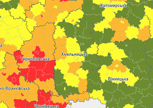 До помаранчевої зони потрапили місто Славута і чотири райони Хмельниччини
